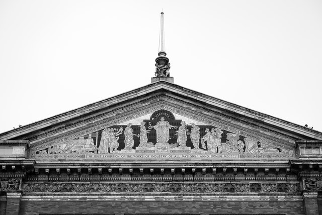 Detail of the pediment of the north facade of the Victoria and Albert Museum.