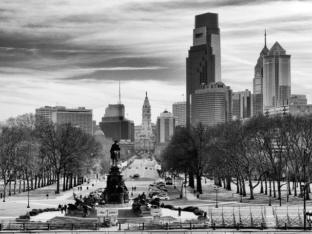 The Philadelphia skyline, from the top of the steps of the Philadelphia Museum of Art.