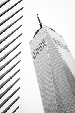 One World Trade center seen next to the ribs of the Oculus.