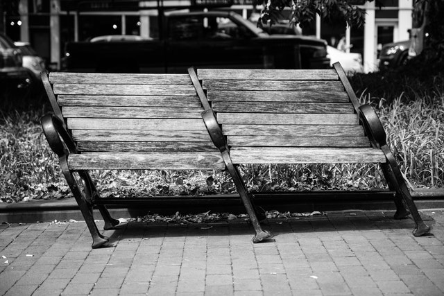 An askew park bench in Georgetown.
