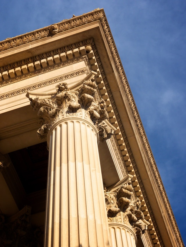 Detail of the columns of the National Archives building, Washington, DC.