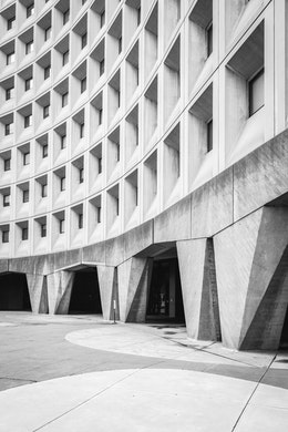 The courtyard of the Department of Housing and Urban Development building in SW Washington, DC.