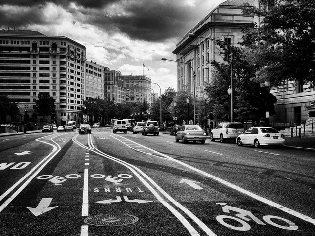 Bike lanes on Pennsylvania Avenue.