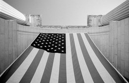 Flag hanging in front of Union Station, Washington, DC.