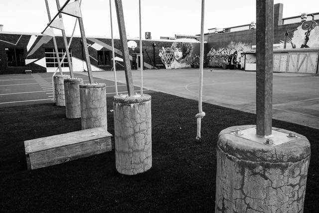 An exercise yard behind a Crossfit studio in Southside Chattanooga.