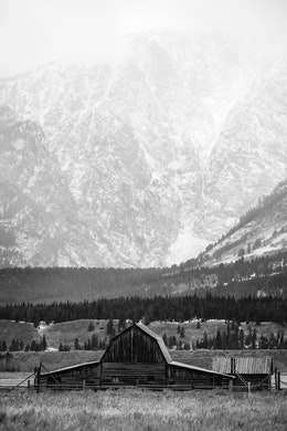 The John Moulton Barn with the Tetons in the background during a snow storm.
