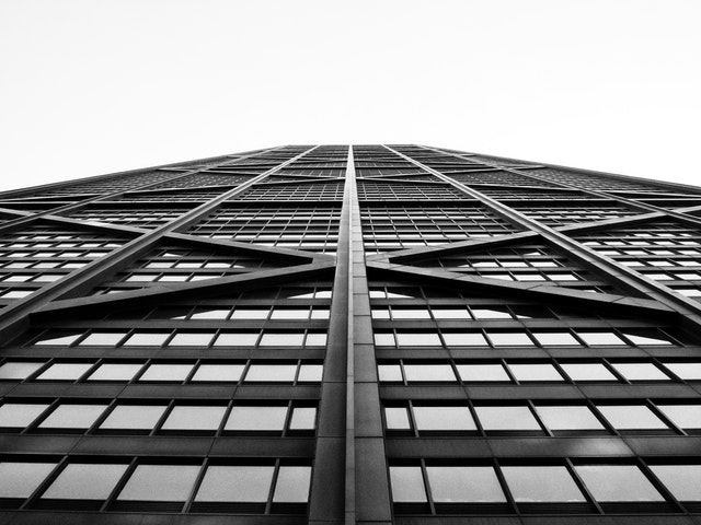 Looking straight up at the John Hancock Center in Chicago.