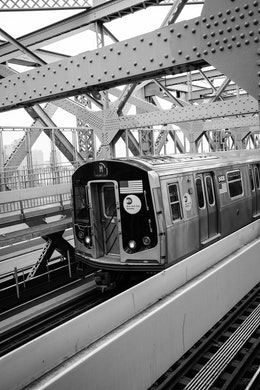 A subway train on the Williamsburg Bridge.