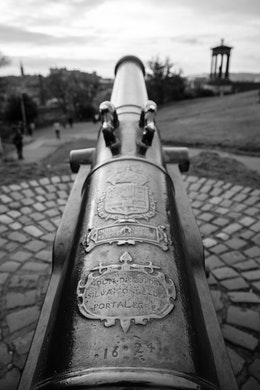 The barrel of the Calton Hill Cannon, in Edinburgh.