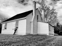 Kate, checking out the room where Stonewall Jackson died, at the Stonewall Jackson Shrine in Virginia.