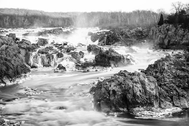 Great Falls in the winter, from the second overlook of the Virginia side.