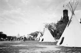 Teepees at a Keystone XL protest at the National Mall.