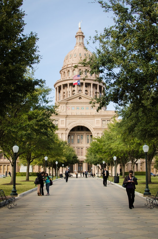 Front view of the Texas State Capitol in Austin, Texas.