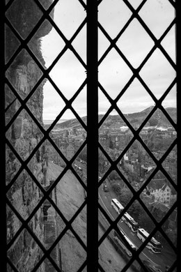 The view from the windows of the Royal Palace at Edinburgh Castle.