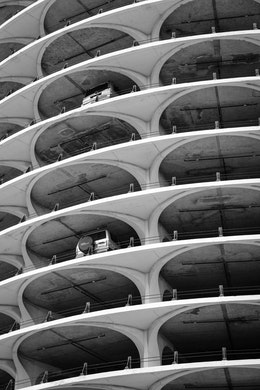Close-up of the Marina City parking lot.