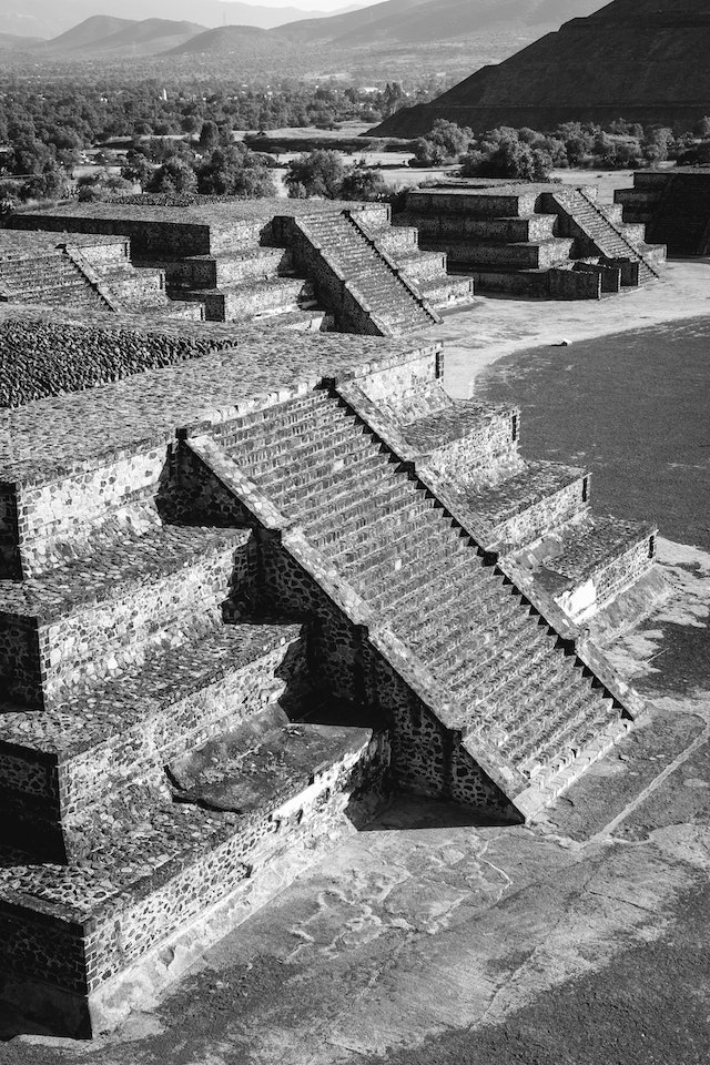 Smaller pyramids at Teotihuacán, seen from the Pyramid of the Moon.
