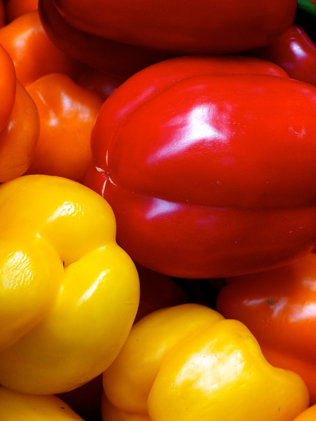 Red and yellow peppers in Eastern Market.