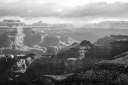 A storm over the North Rim of the Grand Canyon, seen from Powell Point on the South Rim.