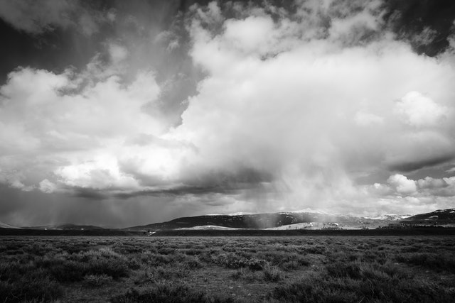 Storm clouds over Antelope Flats at Grand Teton National Park, with the Gros Ventre range in the background.