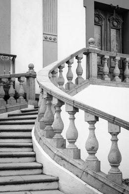 A curving stairway at a house in San Ángel, Mexico City.