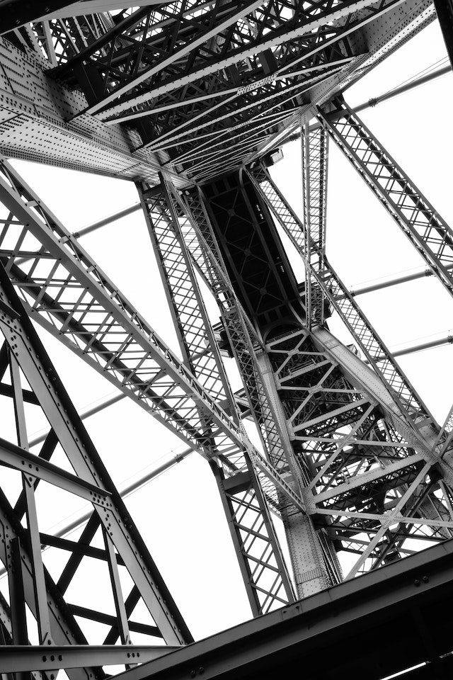 Looking up at one of the towers of the Williamsburg Bridge in New York.