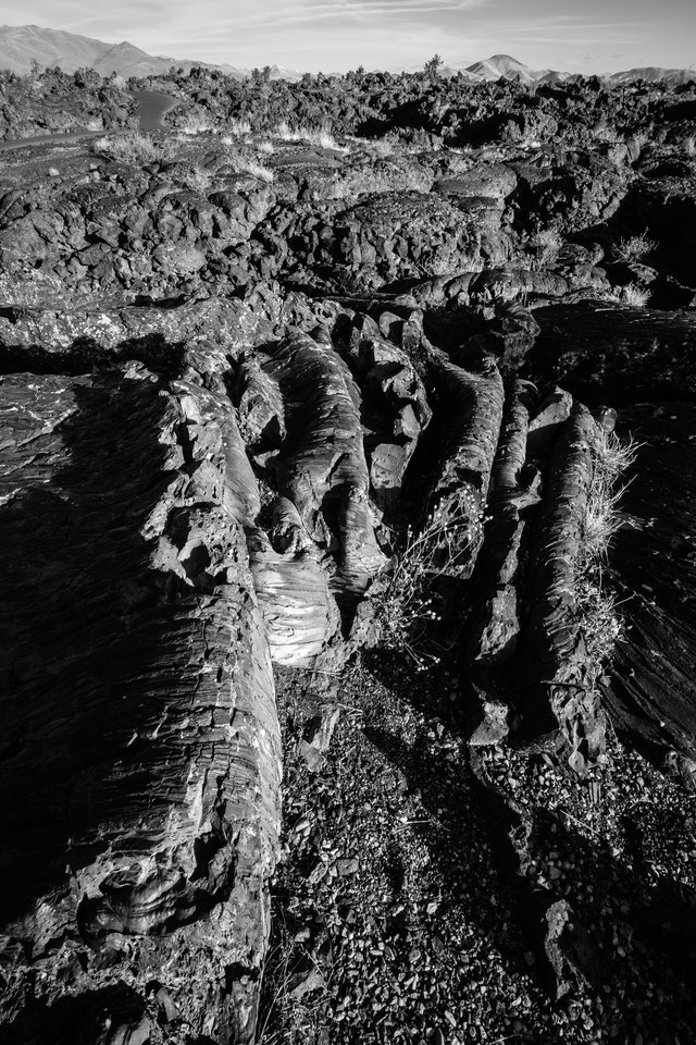 Ropes of pahoehoe lava alongside the Cave Area trail in Craters of the Moon.