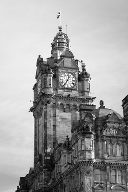 The clock tower of the Balmoral Hotel in Edinburgh.
