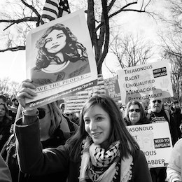 People marching at the Women's March in Washington, DC.