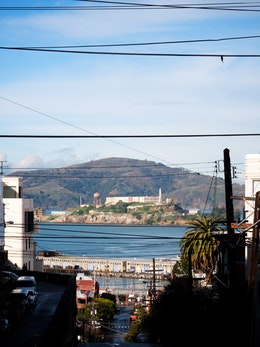 Alcatraz Island, seen from near the corner of Lombard & Leavenworth streets.