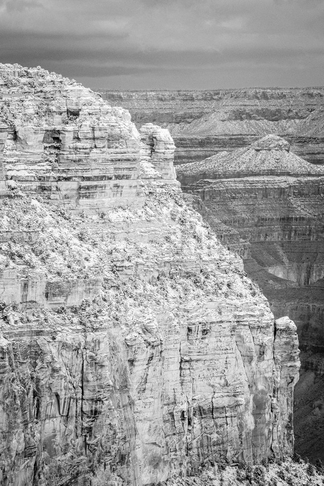 A close-up of Maricopa Point, seen from Grand Canyon Village after a snowstorm.