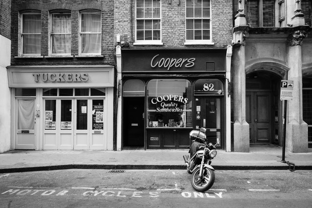 A motorcycle parked on the street at Fetter Lane, London.