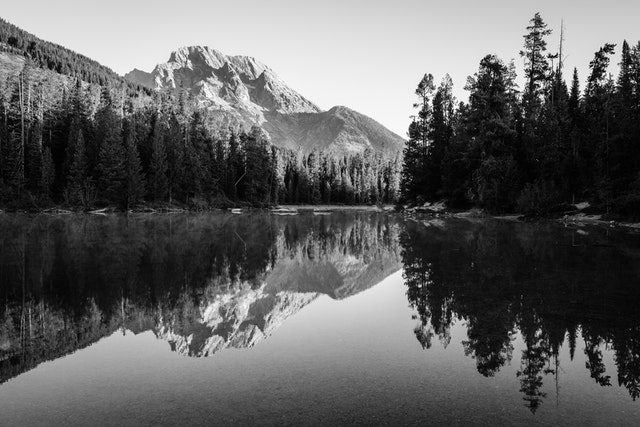 Mount Moran, reflected off the surface of String Lake.