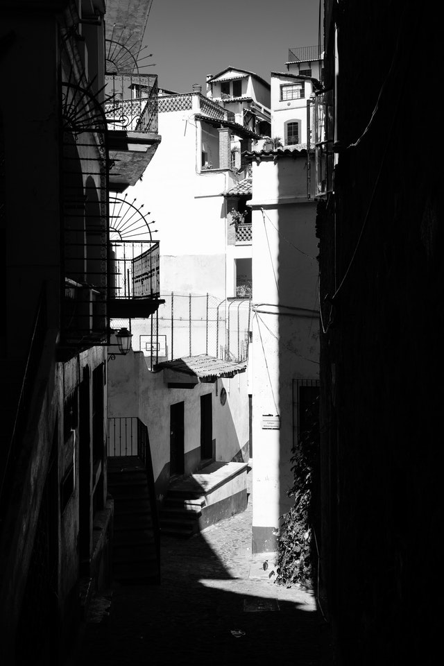 An alley in Taxco, Mexico.