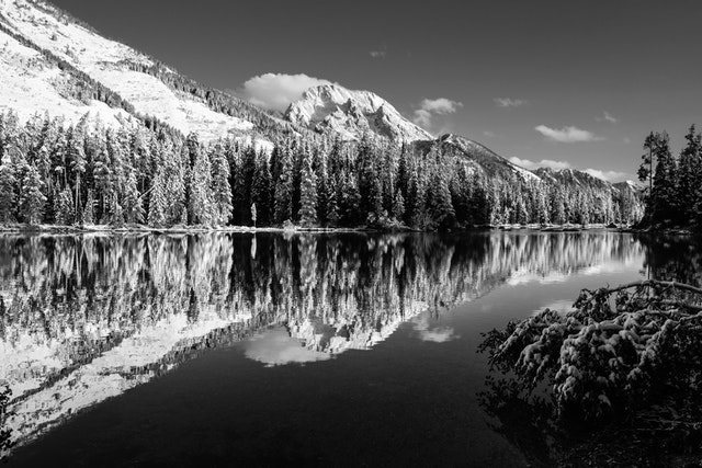 String Lake, flanked by snow-covered trees. In the distance, Mount Moran.