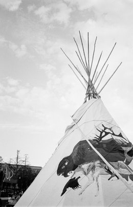 A teepee at a Keystone XL protest at the National Mall.