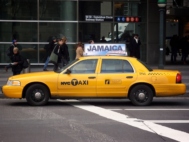 A cab in Columbus Circle.