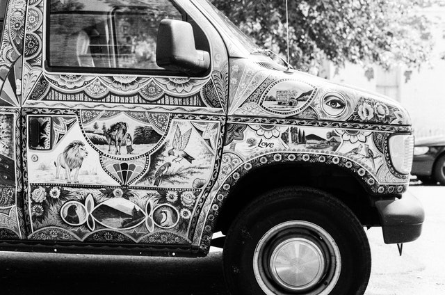 A very colorful hand-painted van in Capitol Hill, Washington, DC.