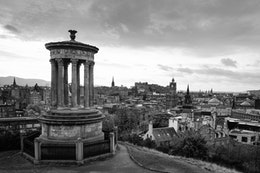 The Dugald Stewart Monument and the Edinburgh skyline, from Calton Hill.