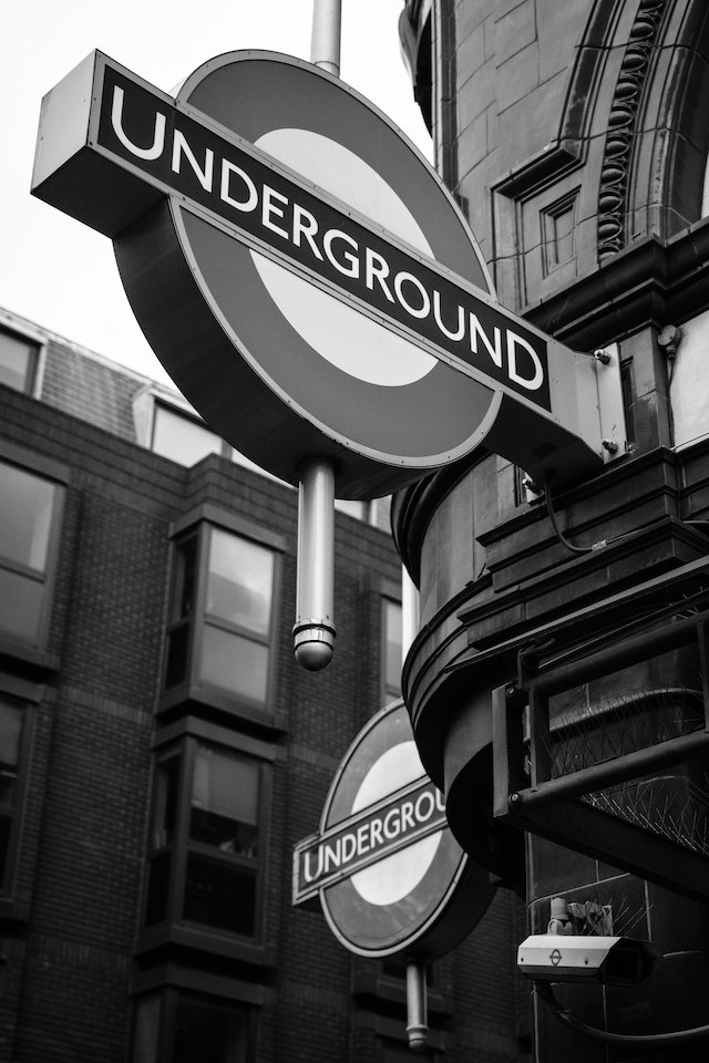 Underground signs in front of Covent Garden Station.