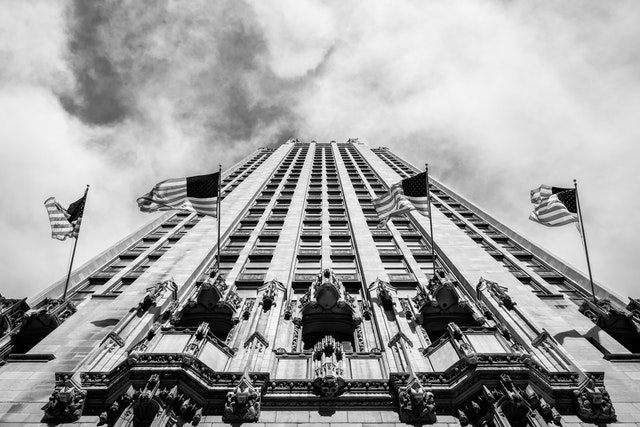 Looking up at the Tribune Tower in Chicago.