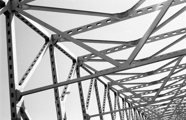 The structure of a steel bridge near Baltimore.