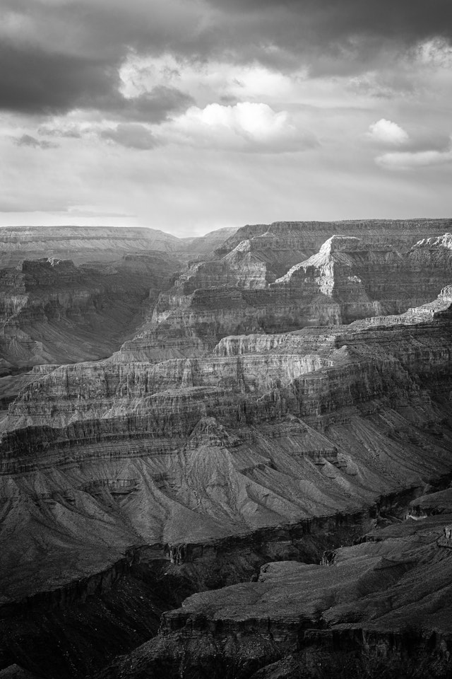 The North Rim of the Grand Canyon, in late afternoon, seen from Mohave Point.