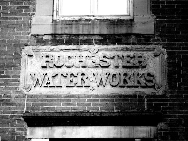 A Rochester Water-Works sign, in Rochester, New York.