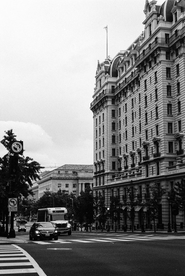 Car traffic in front of the Willard Hotel in Washington, DC.