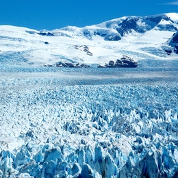 A close-up of the seracs of the Perito Moreno glacier.