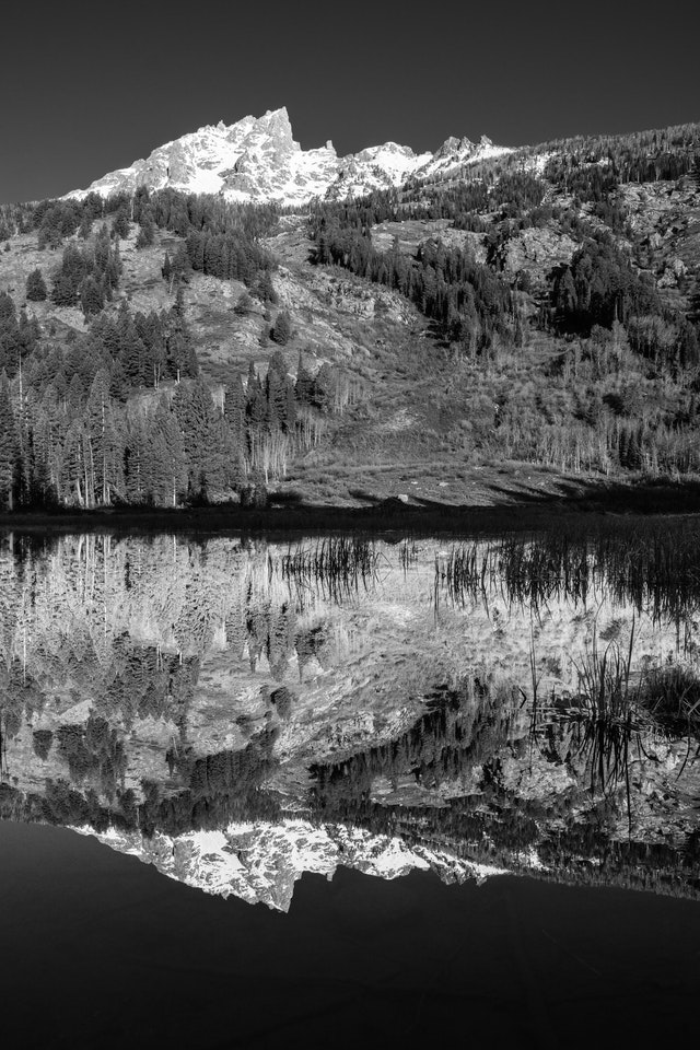 Teewinot Mountan, seen reflected off the waters of Moose Ponds.