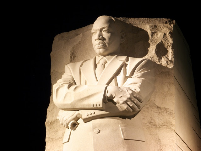 Statue of Martin Luther King at the Martin Luther King Jr. Memorial.