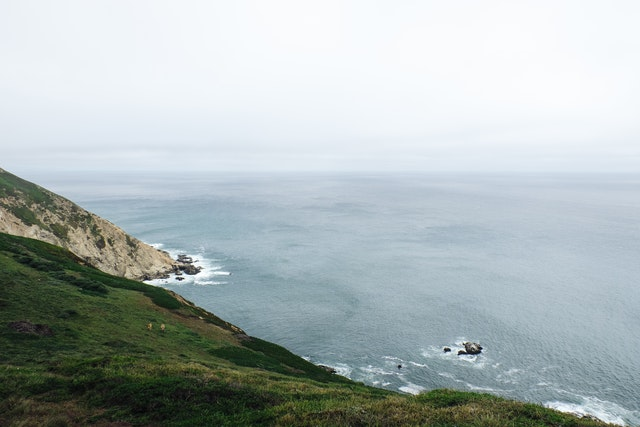 The Pacific Ocean from the Point Reyes lighthouse.