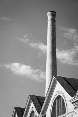 A chimney at Motor Square Garden, East Liberty.