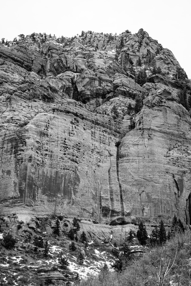 The rocky wall of Beatty Point in Kolob Canyons.